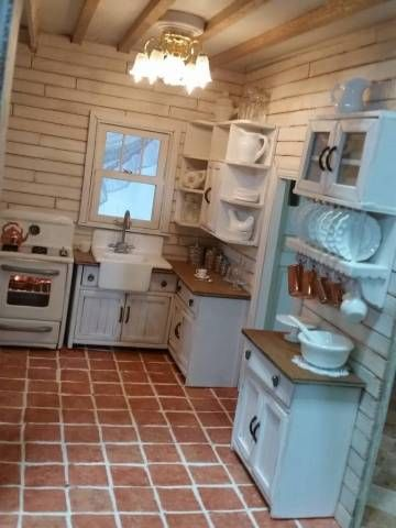 Miniature Cabinets in Kitchen with Plate Rack & Oven Light for Dollhouses! Beacon Hill -- Greenleaf Miniatures