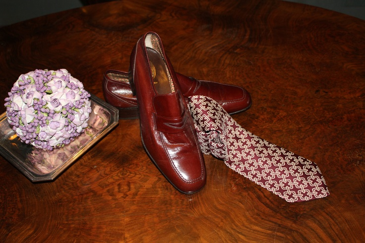 70s dark brown moccasins and purple multicoloured Ives Saint Lauren tie