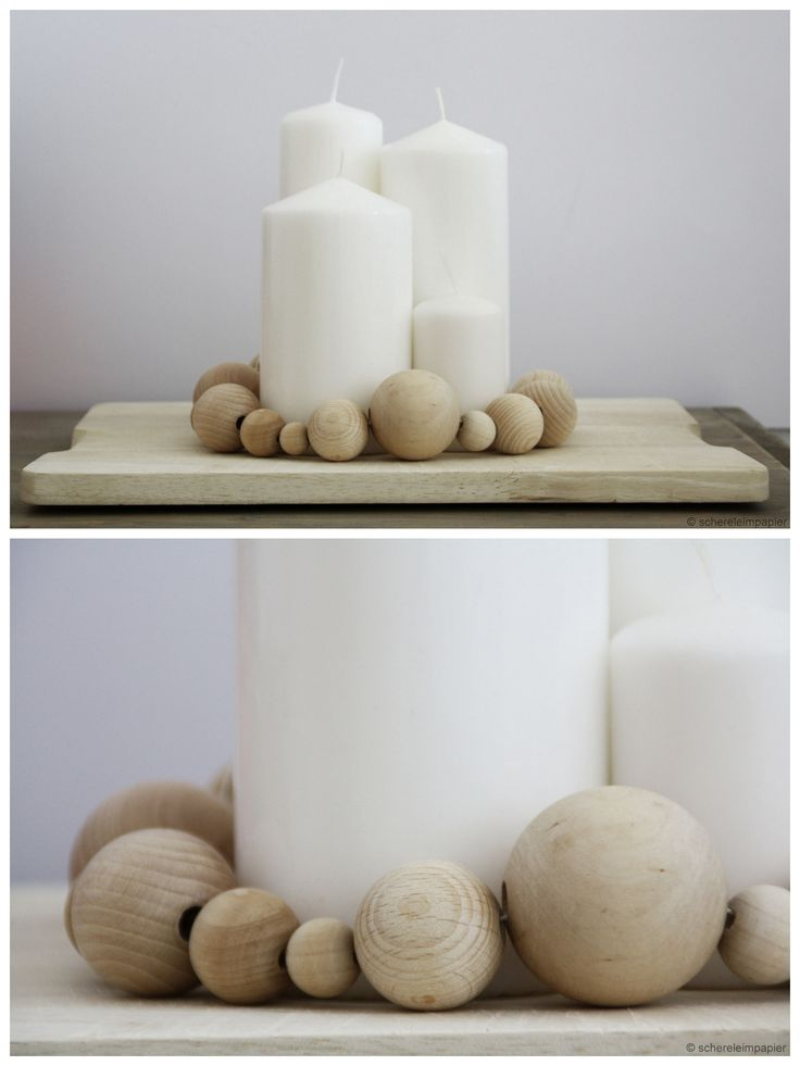 DIY advent wreath made of wooden beads