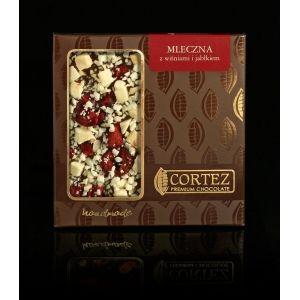 Czekolada Cortez z wiśniami i jabłkiem #czekolada #cortez #chocolate #milk #mleczna #cherry #wisnie #jablko #apple #sweets