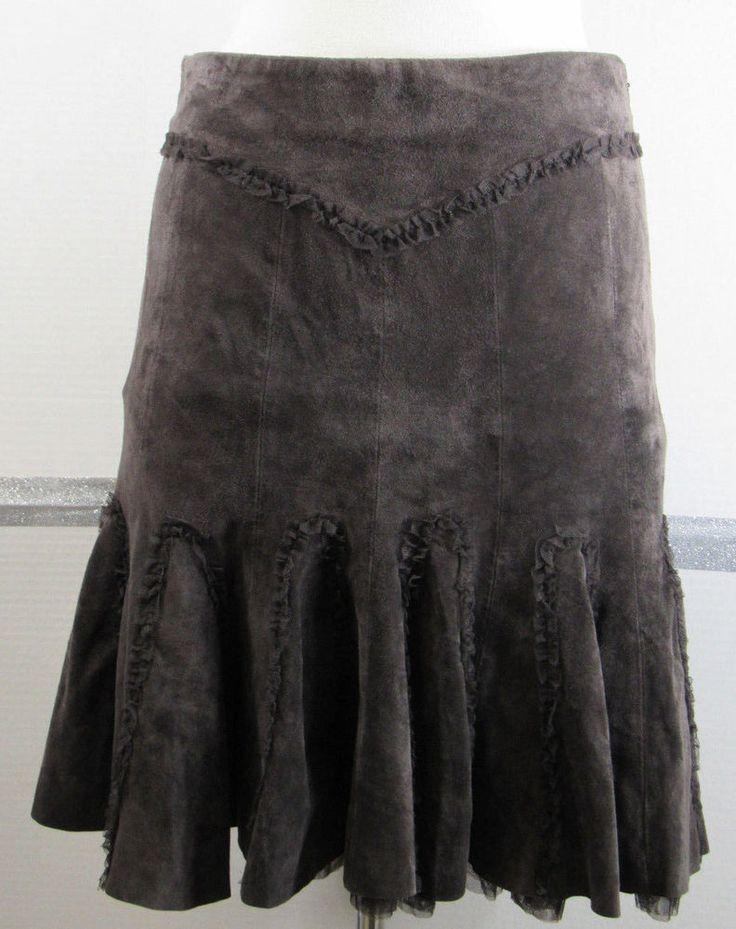 Anthropologie June Suede Skirt Size 4 Dark Brown Removable chiffon Ruffle GRUC #AnthropologieJune #ALine