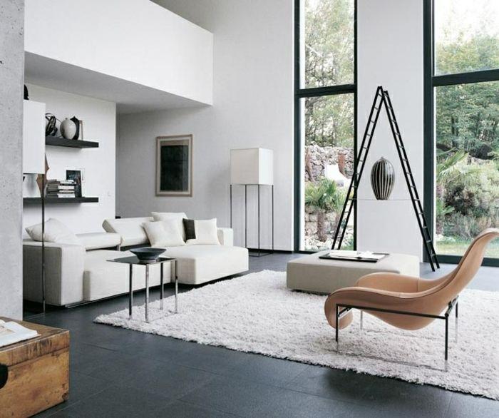 Moderne Sofas Weiss Teppich Dunkle Bodenfliesen BodenfliesenWohnzimmer