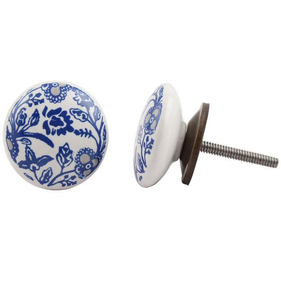 Blue and Grey Flowers  Draw Knob /Drawer Pulls / Dresser Knobs