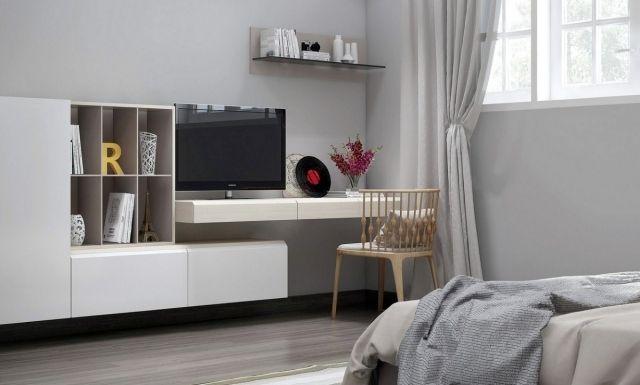bureau et meuble TV flottant dans la chambre nordique