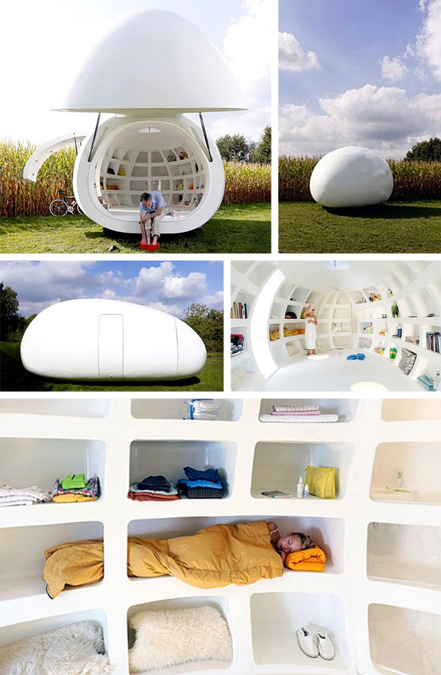 How would you like to live in a super ultra modern trailer that was shaped like an egg?