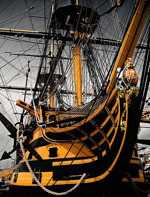 Nelson's Flagship HMS Victory built in 1759 now at Portsmouth, UK. Been here! I toured the ship...it was astounding. Nelson is one of my favorite historical figures of all time. Loved it!
