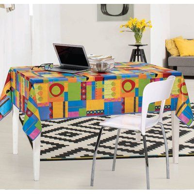 """Latitude Run Wood Park Modern Abstract Vinyl Indoor/Outdoor Non-Woven Backing Kitchen Picnic Tablecloth Size: 55"""" W x"""