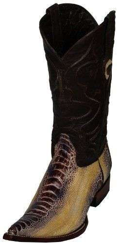 Natural Beige Men Cowboy Boots Western Fashion Real Ostrich Leg Leather Pointy Handmade Riding 6813