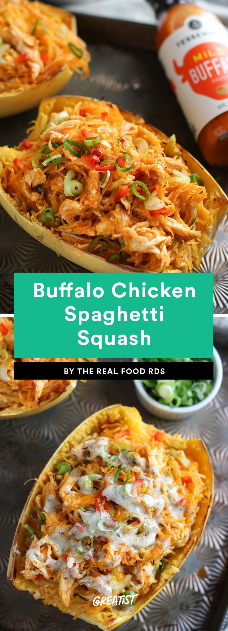 1. Buffalo Chicken Spaghetti Squash #greatist https://greatist.com/eat/easy-whole30-recipes