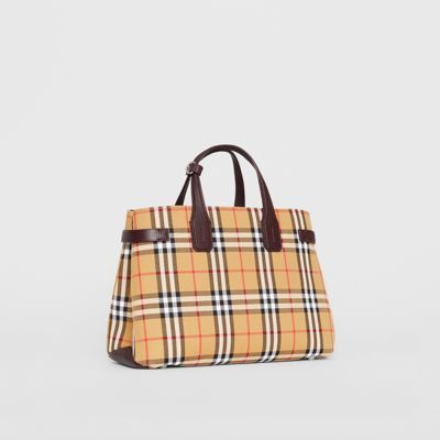 3bf09e4e7b86 The Medium Banner in Vintage Check and Leather in Deep Claret - Women