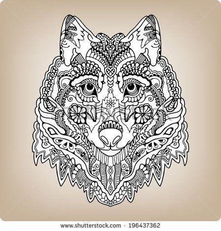 zentangle wolf drawing Pesquisa