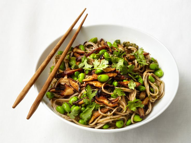 Soba Noodles with Shiitakes and Edamame Recipe : Food Network Kitchens : Food Network - FoodNetwork.com