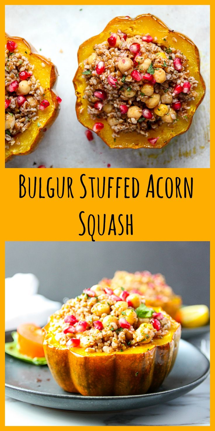 A delicious, healthy and easy to make vegetarian dish with bulgur, chickpeas, walnuts and pomegranate. #stuffedsquash #squash #bulgur #vegetarianrecipes