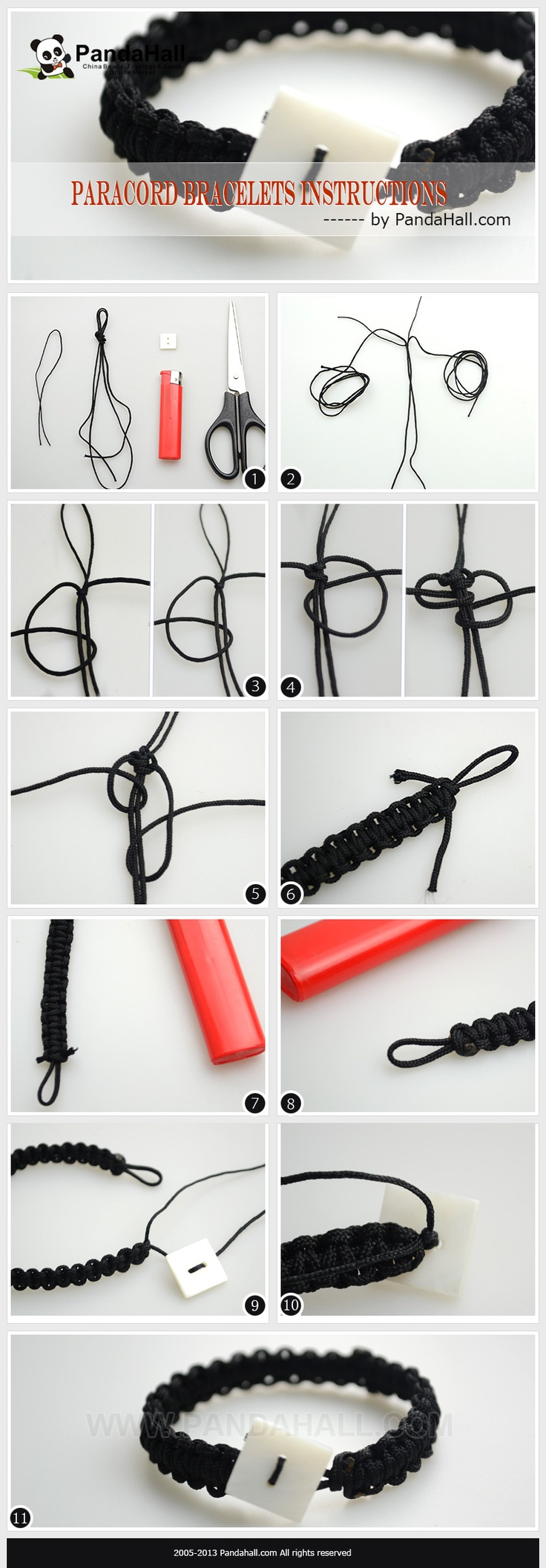 In this article, I will share you one sample of the professional Paracord bracelets instructions; and furthermore, the way to undo a real Paracord bracelet. All stuffs you'll need are a strand of Paracord and scissors!