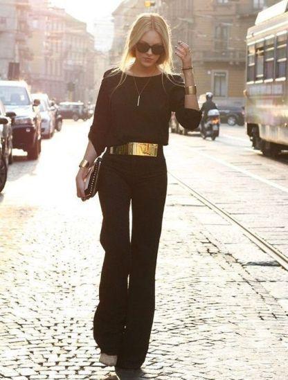 Jumpsuit with golden belt! black elegant