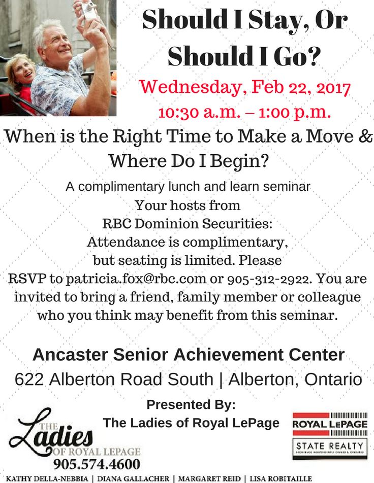 Seniors event hosted by RBC Dominion Securities: Wendy Tompkins, PFP, Investment Advisor and Financial Planner Attendance is complimentary, but seating is limited. Please RSVP to patricia.fox@rbc.com or 905-312-2922. You are invited to bring a friend, family member or colleague who you think may benefit from this seminar. Ancaster Senior Achievement Center 622 Alberton Road South | Alberton, Ontario