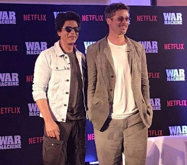 "Brad Pitt with Shah Rukh Khan during his Mumbai visit to promote his upcoming Netflix movie ""War Machine"". @filmywave  #ShahRukhKhan #SRK #BradPitt #Netflix #WarMachine #celebrity #bollywood #actor #actress #star #fashion #fashionista #bollywoodfashion #bollywoodstyle #glamorous #hot #sexy #love #beauty #instalike #instacomment #instafollow #filmywave"