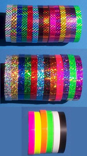 purple,hot pink, hot green, and silver sparkle tape or prism tape