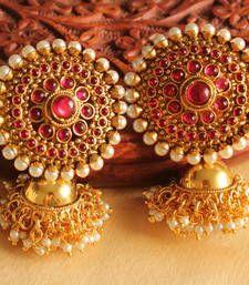 Buy Lovely  designer pearl-pink  partywear jhumkkas jhumka online