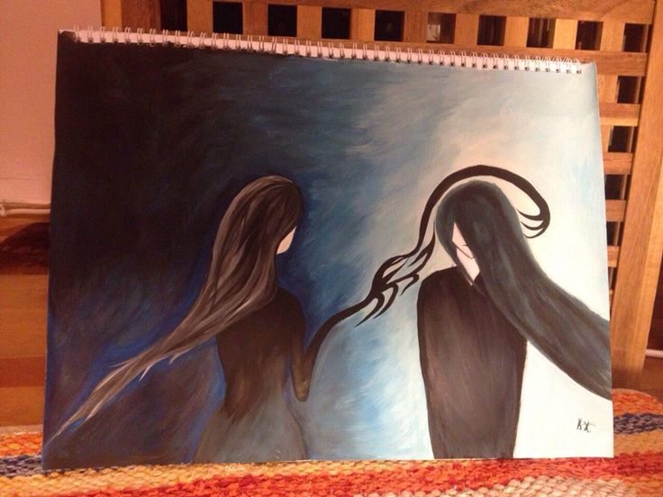 Drawing. Watercolor. Black - white - blue. Girl and boy with long hair.