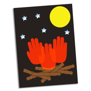 tear strips of brown construction paper (logs) and glue them to a sheet of black paper. Next, press your hand in orange paint and then onto the paper above the logs (flames). Repeat this step several times. Finally, glue a moon cutout to the page and attach star stickers.