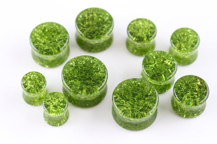 Green Shattered Glass Plugs for stretched ears (Pair) - PB43
