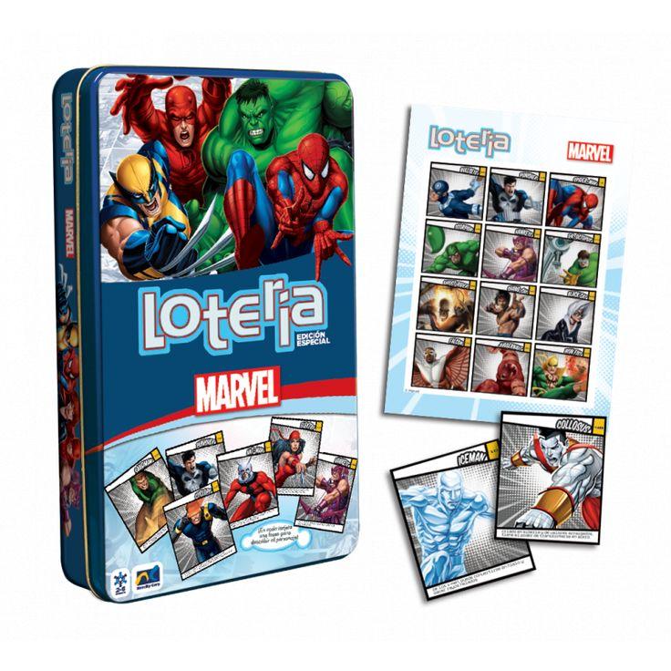 Lotería Marvel Juego de lotería edicion especial con los personajes de Marvel, este set incluye: 54 cartas de lotería, 9 tableros y 90 fichas de plástico y 1 instructivo, todo en un estuche metálico de colección.