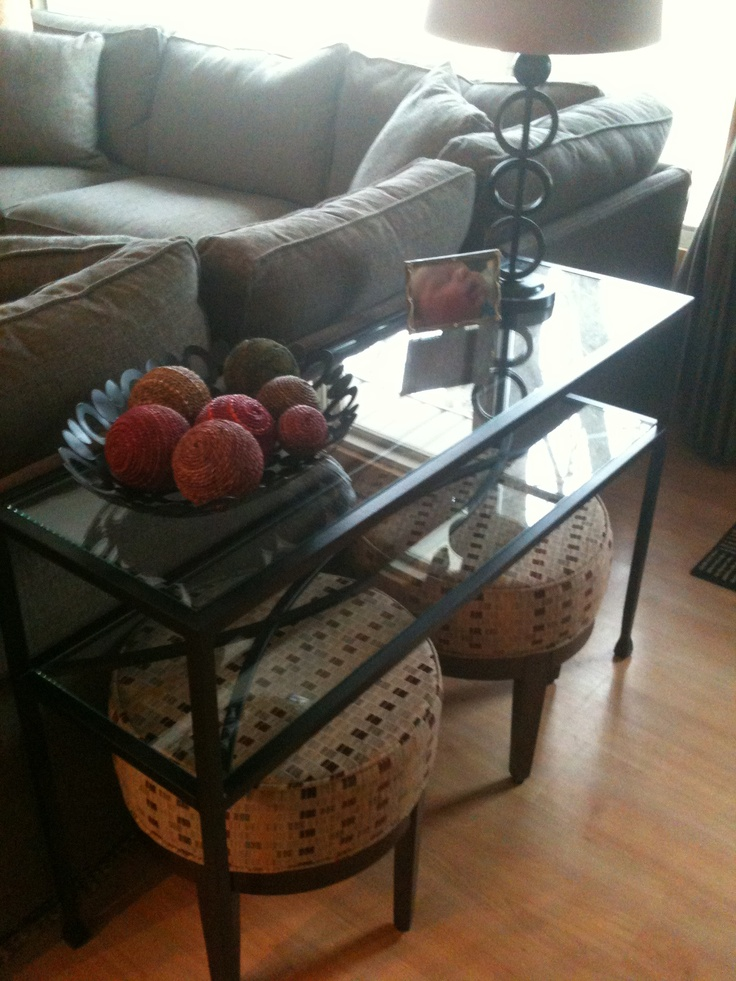 living room sofa table with sitting stools underneath my house pinterest. Black Bedroom Furniture Sets. Home Design Ideas