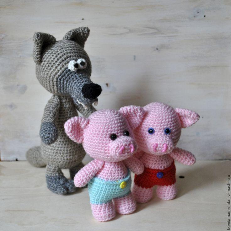 """Купить Вязаные игрушки """"Три поросенка"""" - вязаная игрушка, игрушка для ребенка, вязаные животные"""