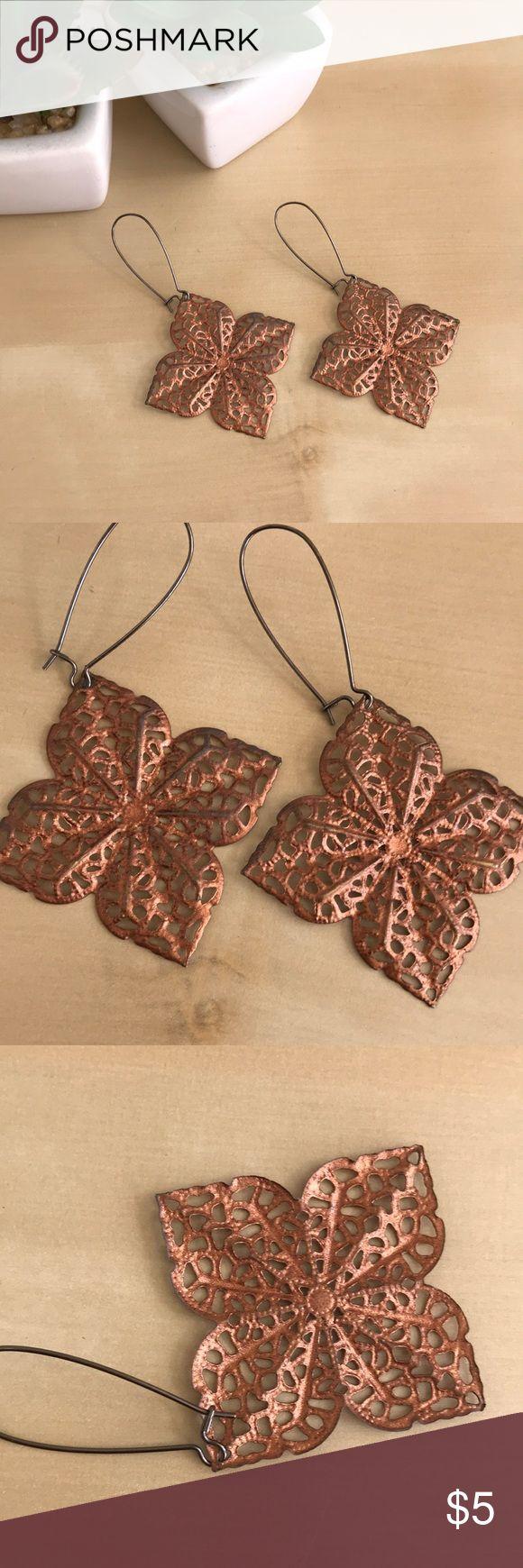 Copper Flower Earrings Gorgeous cut out Copper flower pattern earrings. Lightweight and not heavy at all. Jewelry Earrings