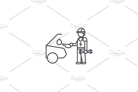 Car Oil Change Vector Line Icon Sign Illustration On Background Editable Strokes Car Oil Change Oil Change Line Icon