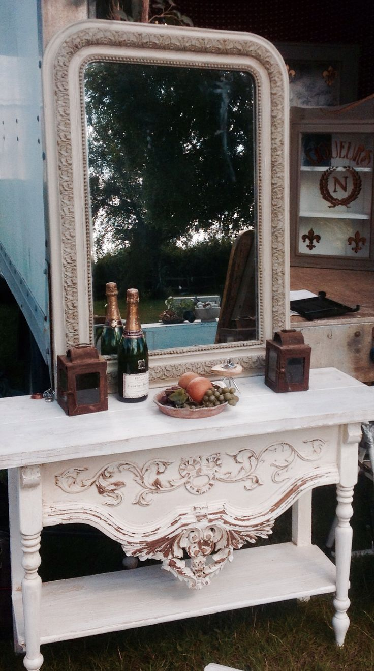 Moth Interiors  Beautiful Mirror Louis Phillipe Table reclaimed timber and 19c French carvings