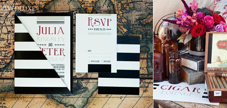 Nautical wedding invitation and rsvp.  Cigar lounge sign. #invitations #rsvp #wedding #weddinginvitations #wedluxe #nautical #design #stripes #weddingstationery