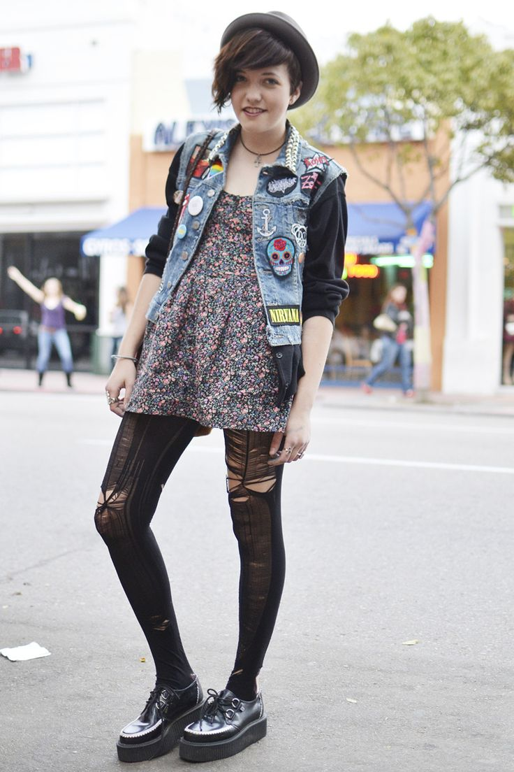 Grunge. Outfit. Ripped Tights. Creepers. Floral Dress. Vest Jacket. Skull. Anchor. Hat. Cute.