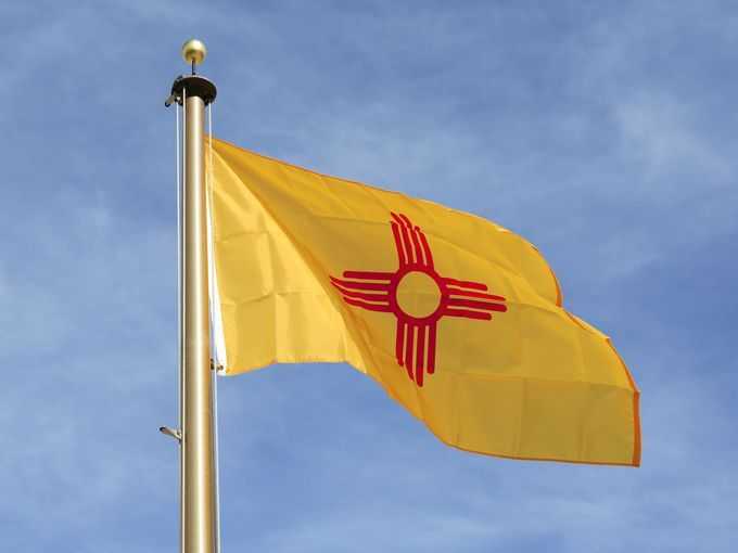 New Mexico - In a common theme relating to state flags, the Daughters of the American Revolution encouraged the modern design of the New Mexico flag. It is one of only four states to not have the color blue in its design (other states are California, Alabama, and Maryland).