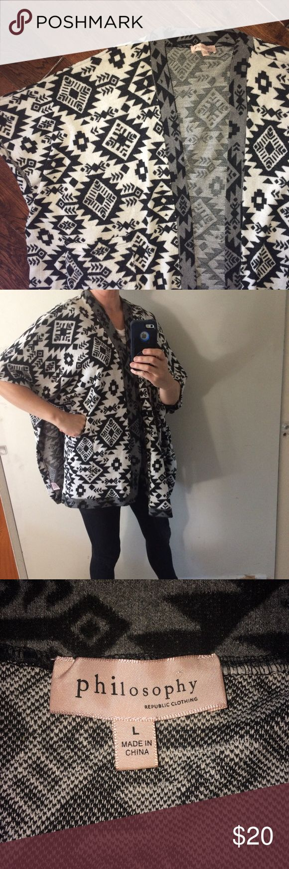"""Philosophy Open Front Black & Cream Print Poncho Very good used condition.58% Polyester, 30% Cotton, and 12% Viscose. Machine wash. For reference, I am wearing the poncho in the second photo and I'm almost five feet 9"""" tall and weigh about 140 pounds. CE Philosophy Sweaters Shrugs & Ponchos"""