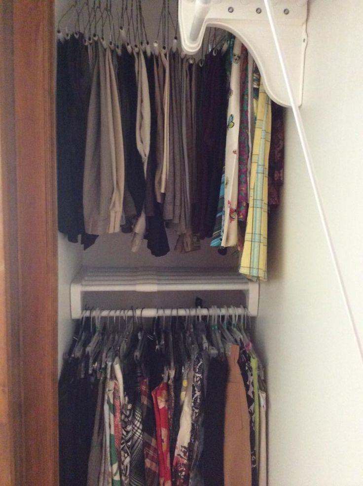 EZ Shelf Mini Closet Rod And Shelf In The Corner Of A Closet. Expands 17