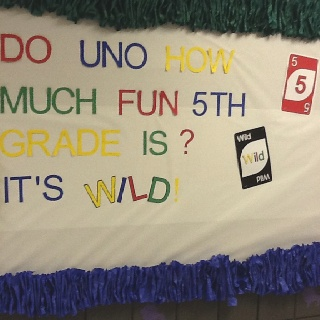 "Do ""UNO""? All made with the Cricut.  Scrunchy border too!! Game board bulletin board for 5th grade."