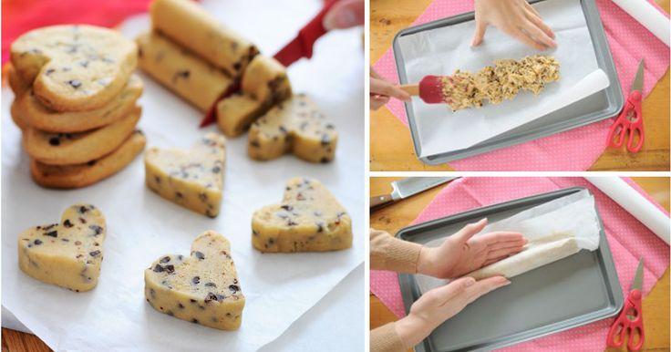 Sušenky ve tvaru srdíčka bez vykrajovátek | Čarujeme