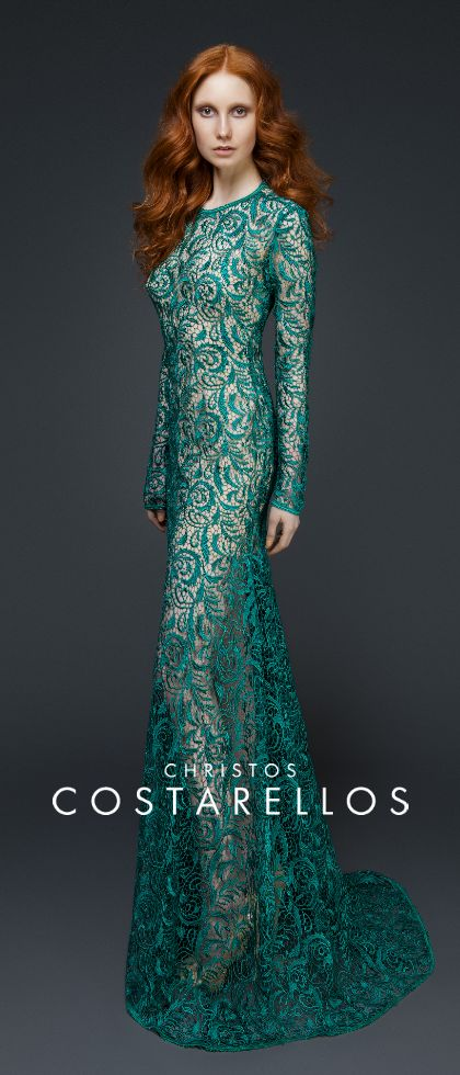 CHRISTOS COSTARELLOS AW 14-15 Christos Costarellos total-lace evening dress from the AW14-15 collection! #costarellos #eveningdress #turquoise #fashion