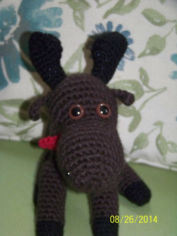 Brown stuffed moose-crochet with red scarf by MadeinMassachusetts