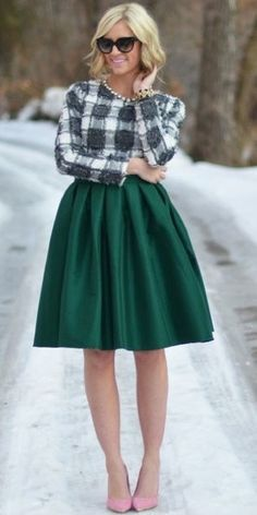 Metallic Green Knee Length Skirt | Mode-sty #nolayering