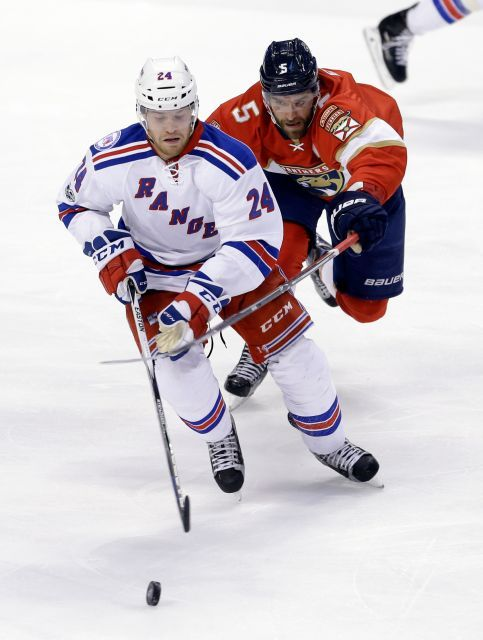 Rangers vs. Panthers:  March 7, 2017  -  he Rangers beat the Florida Panthers, 5-2, on Tuesday at the BB&T Center:      New York Rangers center Oscar Lindberg (24) skates with the puck as Florida Panthers defenseman Aaron Ekblad (5) defends in the first period of an NHL hockey game, Tuesday, March 7, 2017, in Sunrise, Fla.