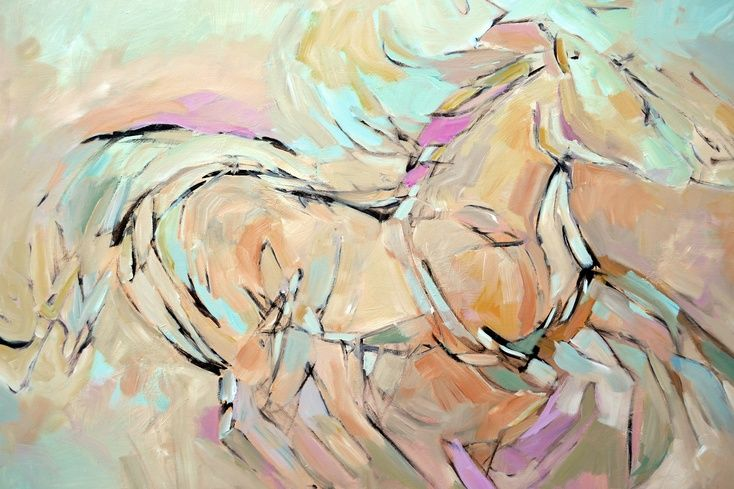 """ARTFINDER: Running Free by Filomena Booth - """"Running Free"""" measures 48"""" across by 36"""" high.  The canvas is stretched on 1.5"""" deep wooden stretcher bars and depicts a horse in full gallop.  The painting..."""