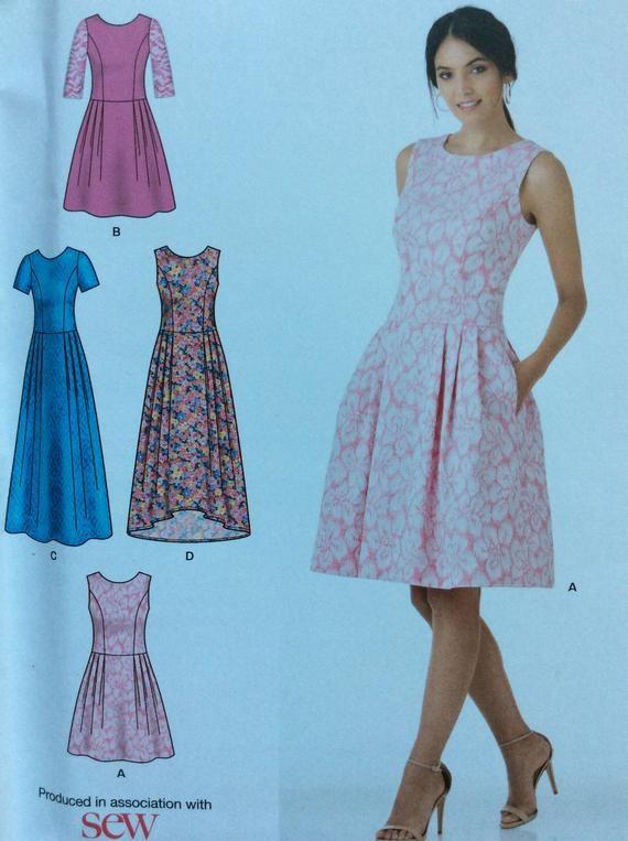 7bb9ec419b1 Misses  Dress Pattern Full Skirt Pockets Sleeve Options 7 Sizes in One New  Look K6341 - UNCUT Size 6 8 10 12 14 16 18
