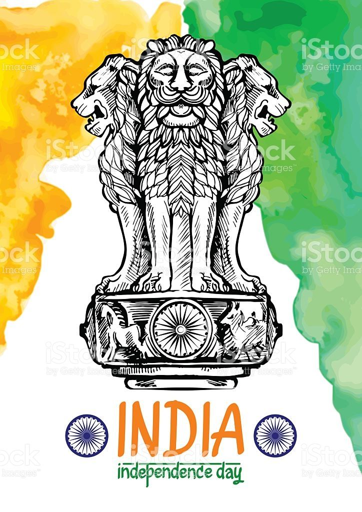 Lion capital of Ashoka in Indian flag color. royalty-free stock vector art