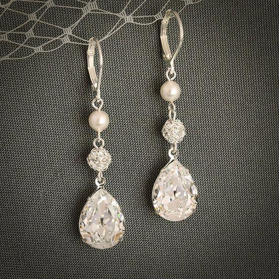 Vintage Style SWAROVSKI Teardrop Crystal , Pearl, & Rhinestone Earrings