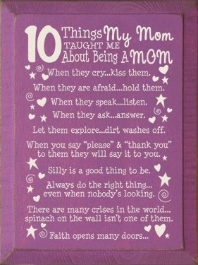 10 things about being a mom