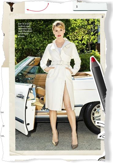 Alice Eve in Dior Belted Coat. Clipped from Marie Claire using Netpage.
