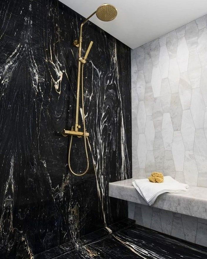 Aria Stone Gallery On Instagram Belvedere Is The New Black Ariastonegallery Just Received A Br In 2021 Shower Tile Designs Small Bathroom Decor Farmhouse Shower Gorgeous black stone small bathroom